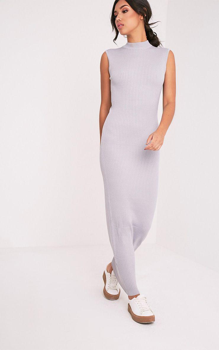 b73649fea0cd78 Zeva Grey Ribbed Sleeveless Knitted Maxi Dress - Knitwear ...
