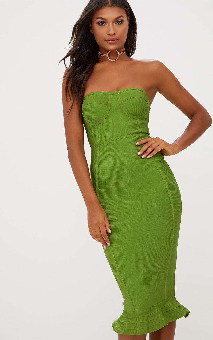 Olive Bandage Frill Hem Midi Dress