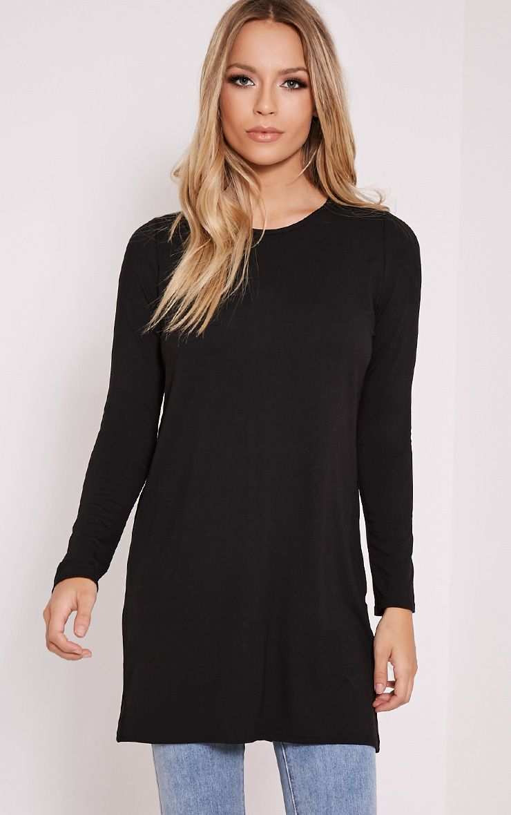 Basic Black Raglan Sleeve Jersey Top 1