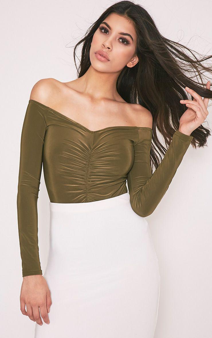 Mella Khaki Bardot Ruched Slinky Thong Bodysuit 1