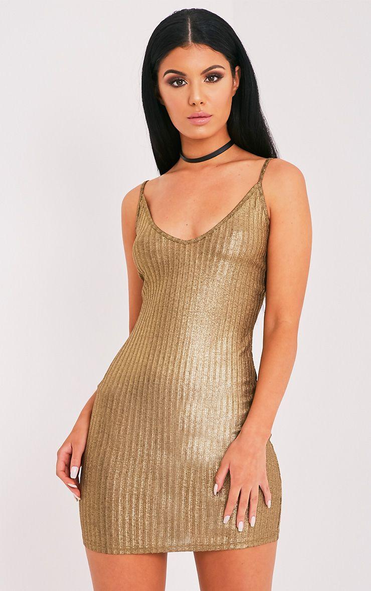 Abbygail Gold Metallic Ribbed Knitted Mini Dress