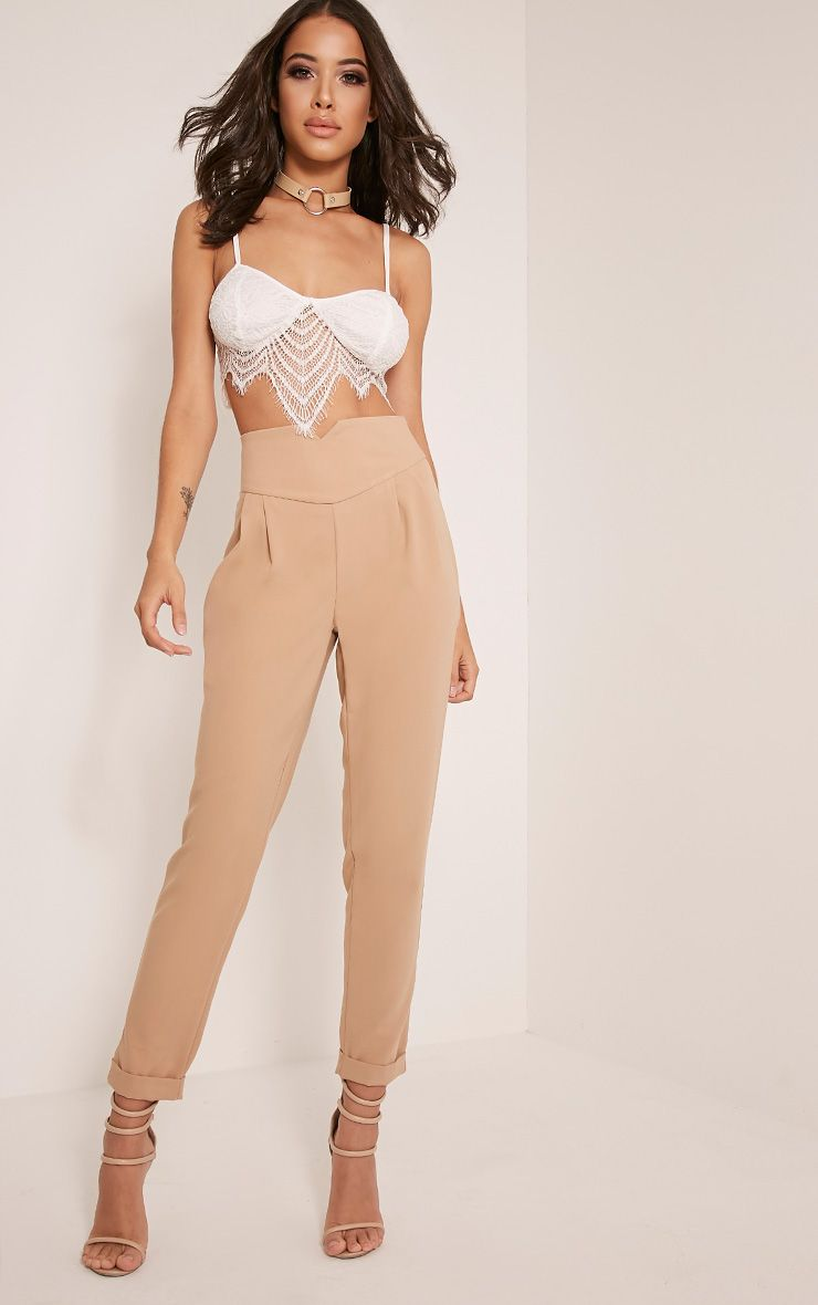 Elenor Camel High Waisted Tapered Trousers