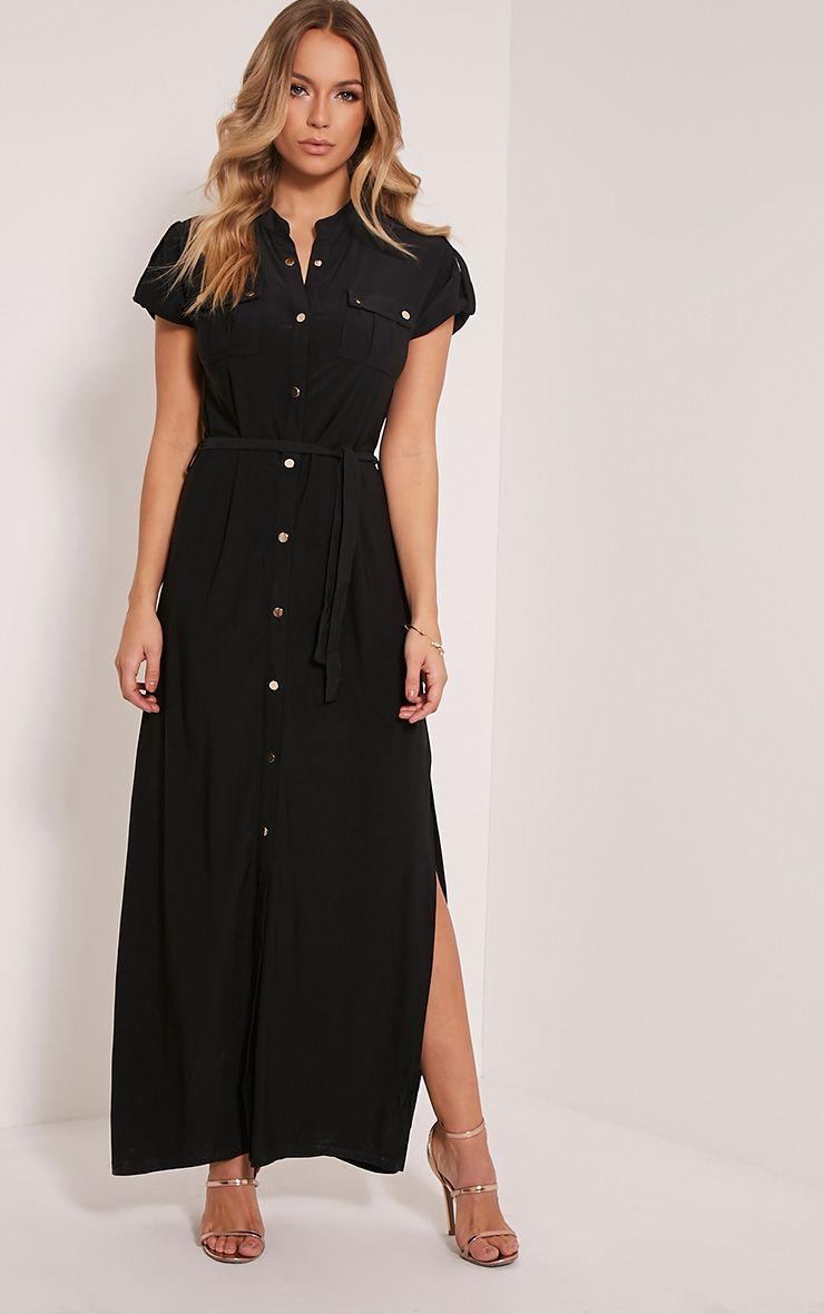 Larrie Black Utility Maxi Dress