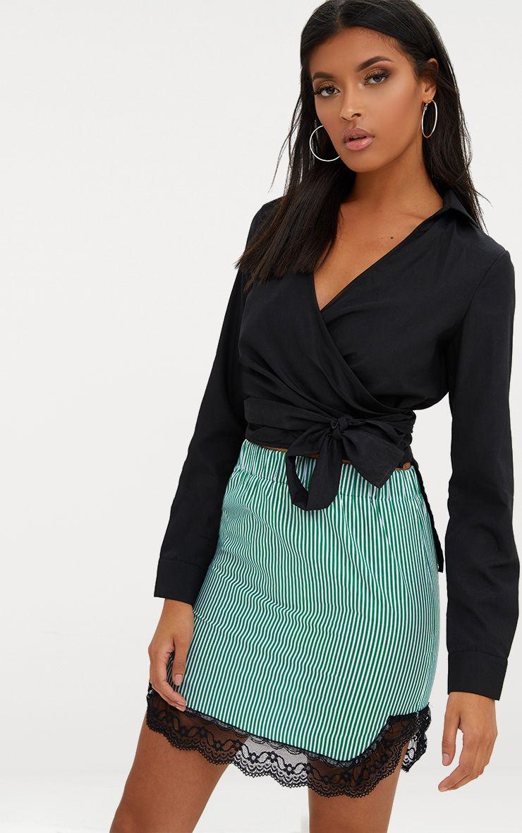 Green Pinstripe Lace Trim Mini Skirt 1