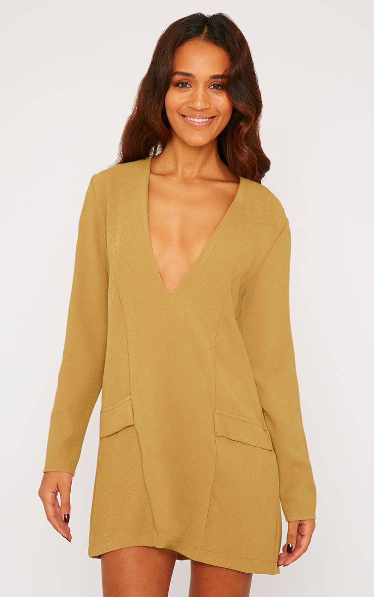 Jemima Khaki Loose Fit Blazer Dress 1