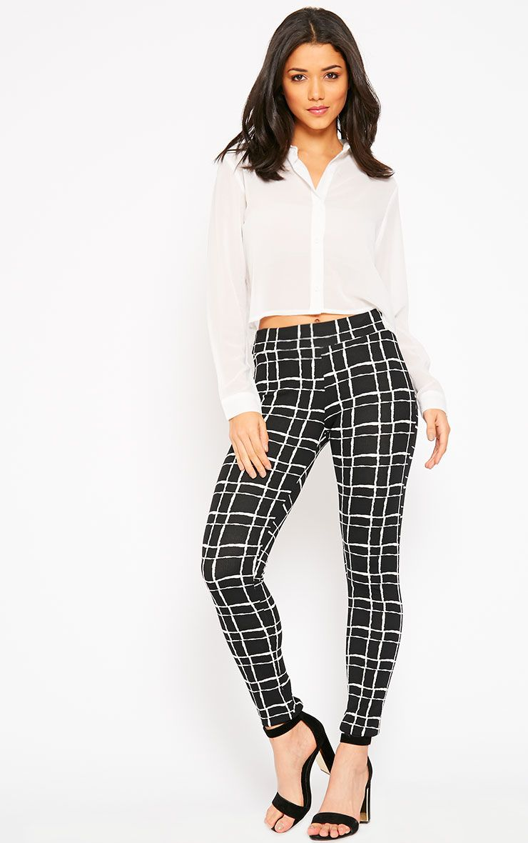 Lesia Black Grid Trousers 1