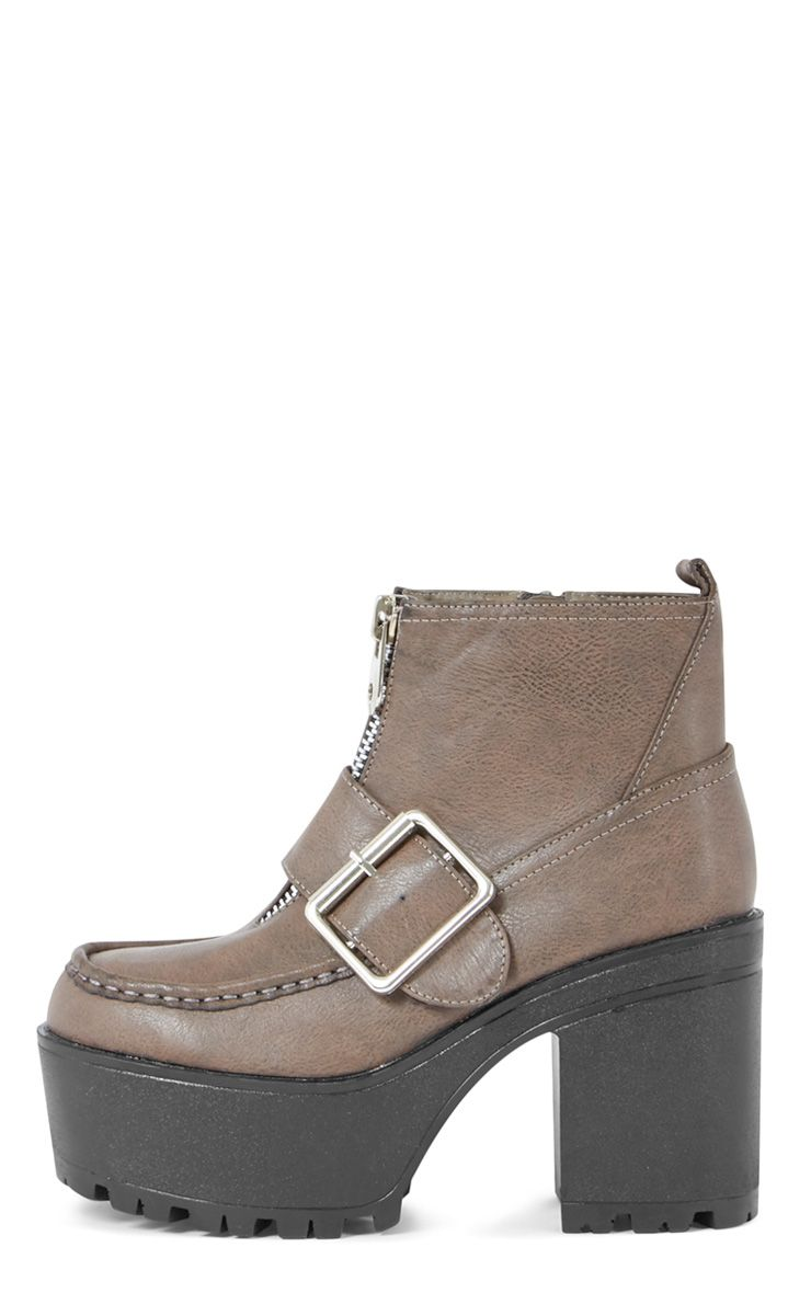 Tanja Taupe Buckle Zip Up Chunky Boot  1
