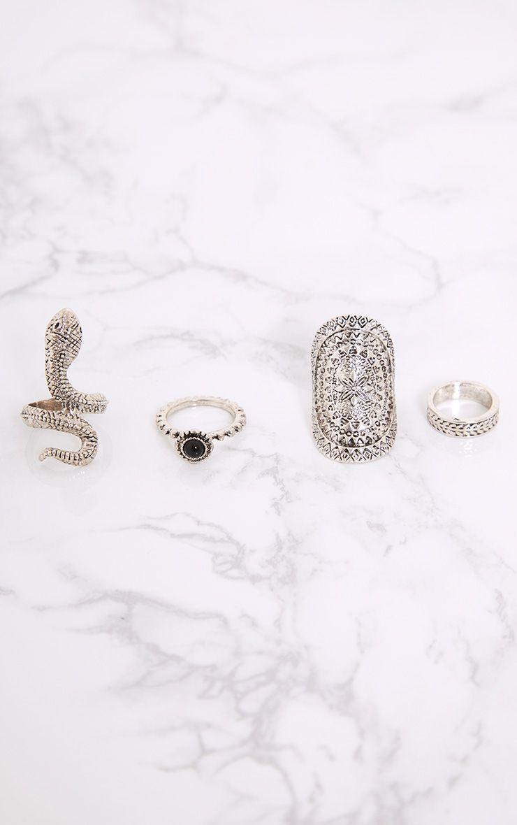 Nerissa Silver Snake Ring Set
