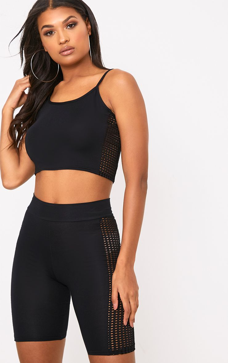 Black Fishnet Side Cami Crop Top