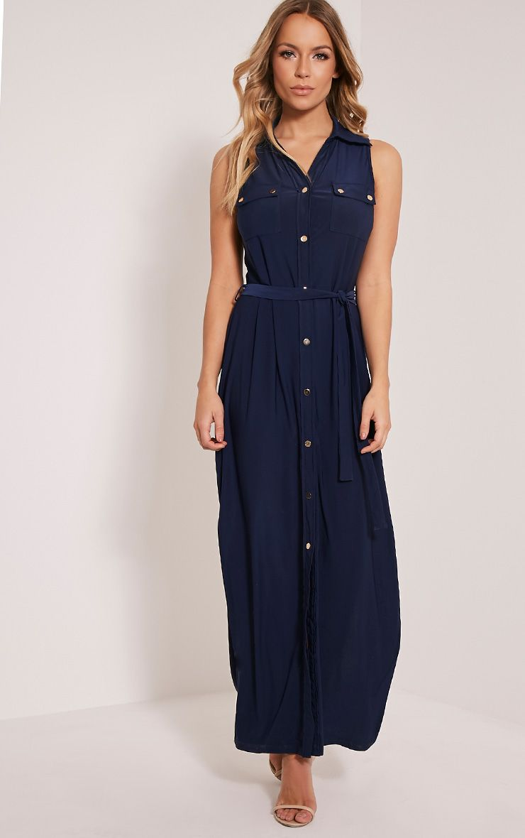 Marsia Navy Sleeveless Utility Maxi Dress 1
