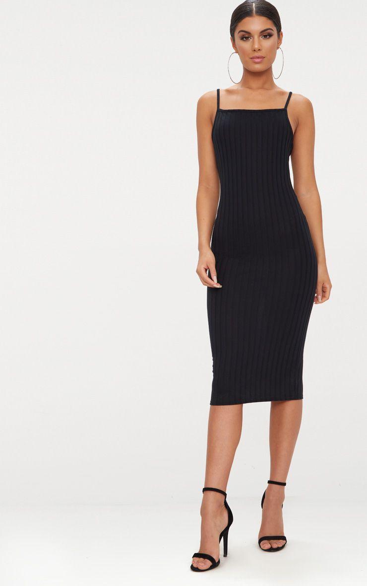 Black Straight Neck Rib Knit Midi Dress