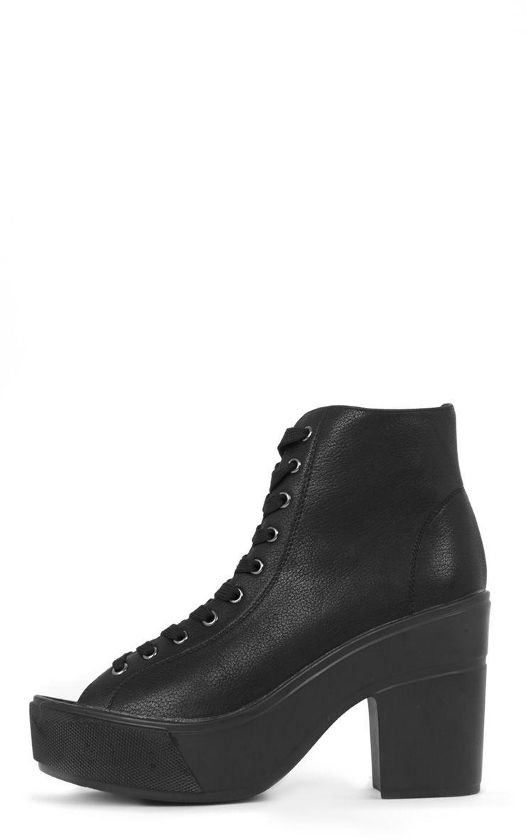 Demi Black Lace Up Peep Toe Boot 1