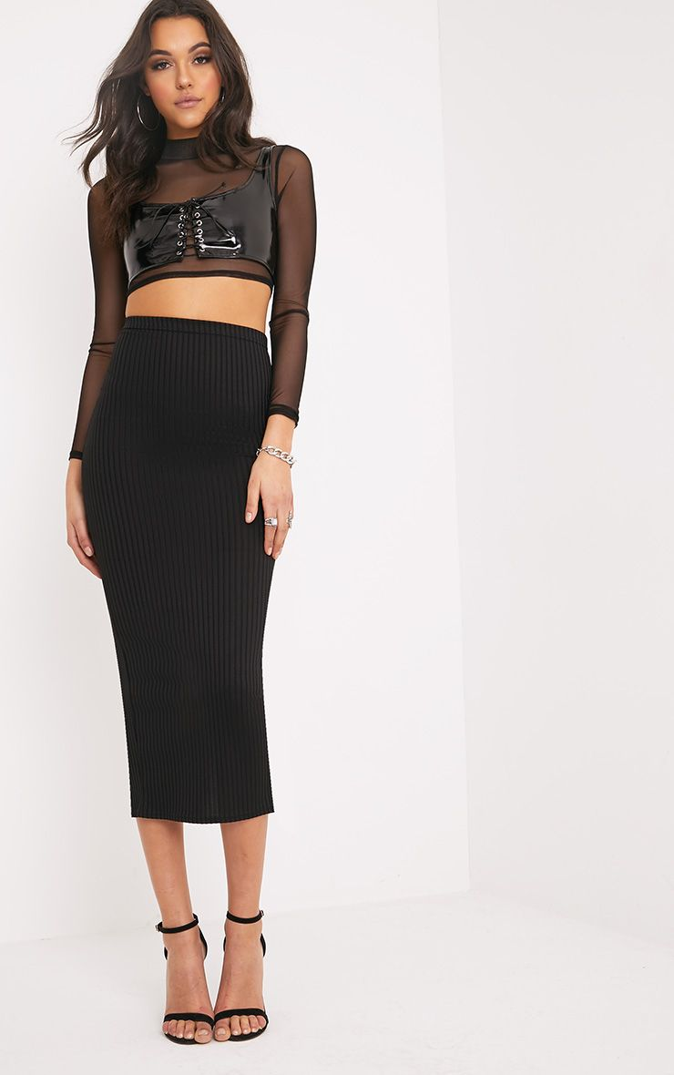 Kaira Black Ribbed Midaxi Skirt