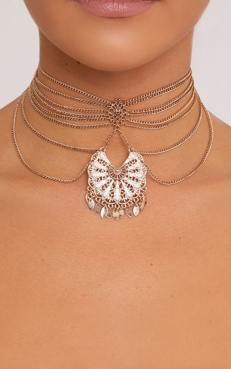 Pazia Gold Multi Row Leaf Choker