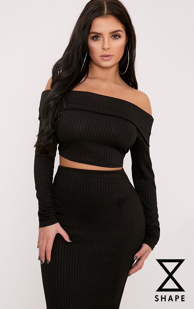 Shape Chastity Black Ribbed Bardot Top