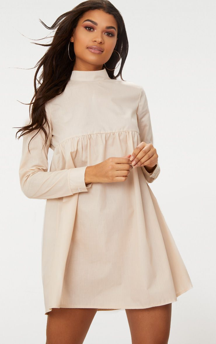 Stone Cotton Poplin High Neck Smock Dress