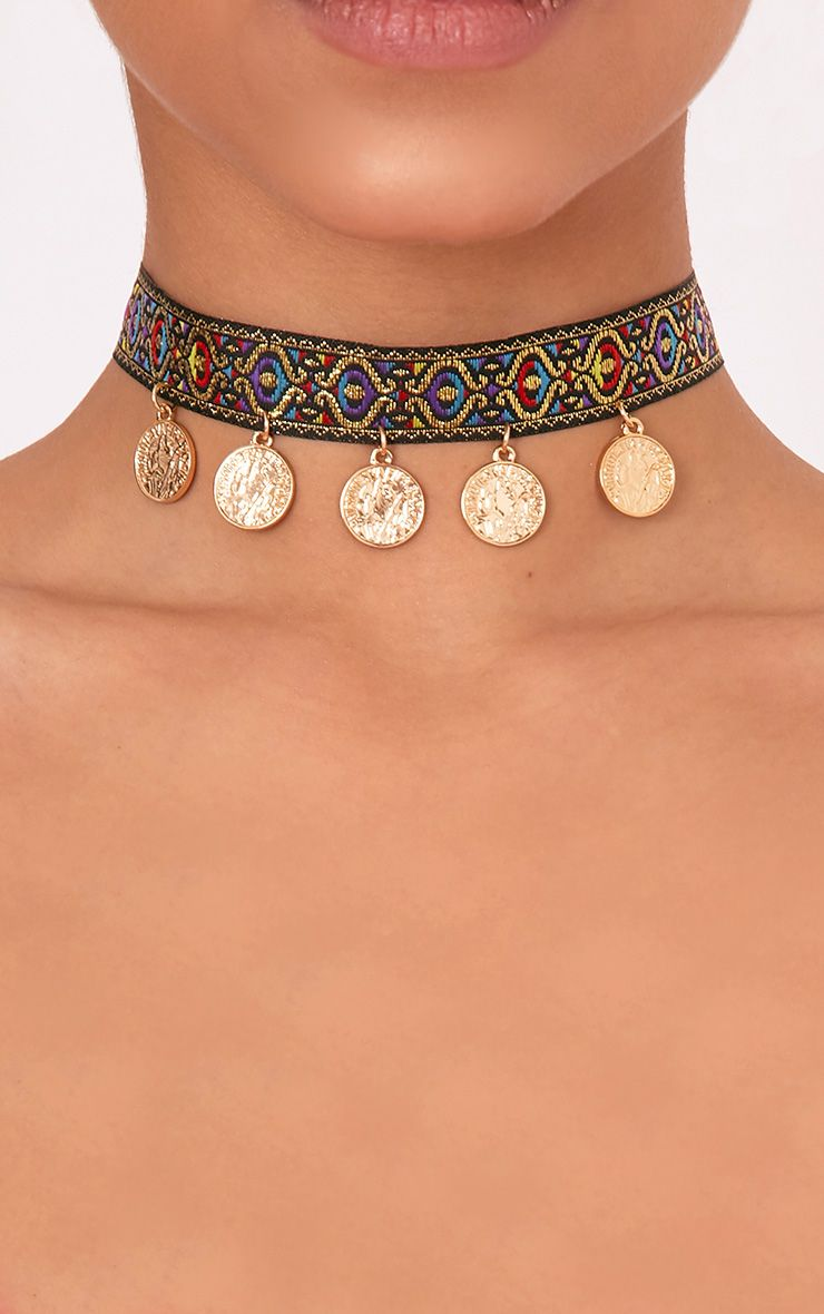 Hafia Embroidered Drop Coin Choker 1