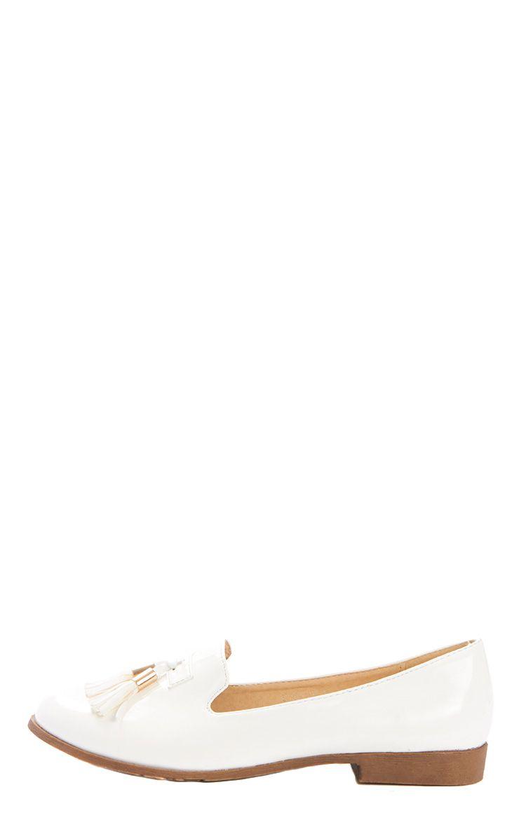 Gwyneth Cream Patent Tassel Loafer 1