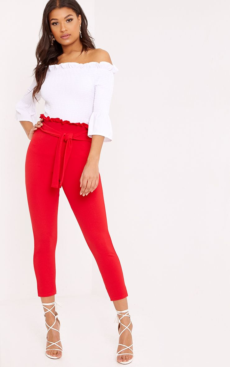 Perlita Red Paperbag Skinny Trousers