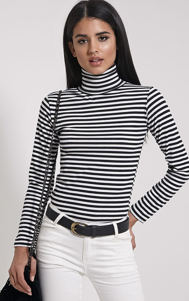 Quentin Monochrome Stripe Turtle Neck Top 1