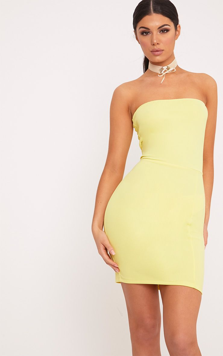 Loriella Lemon Textured Bandeau Bodycon Dress 1