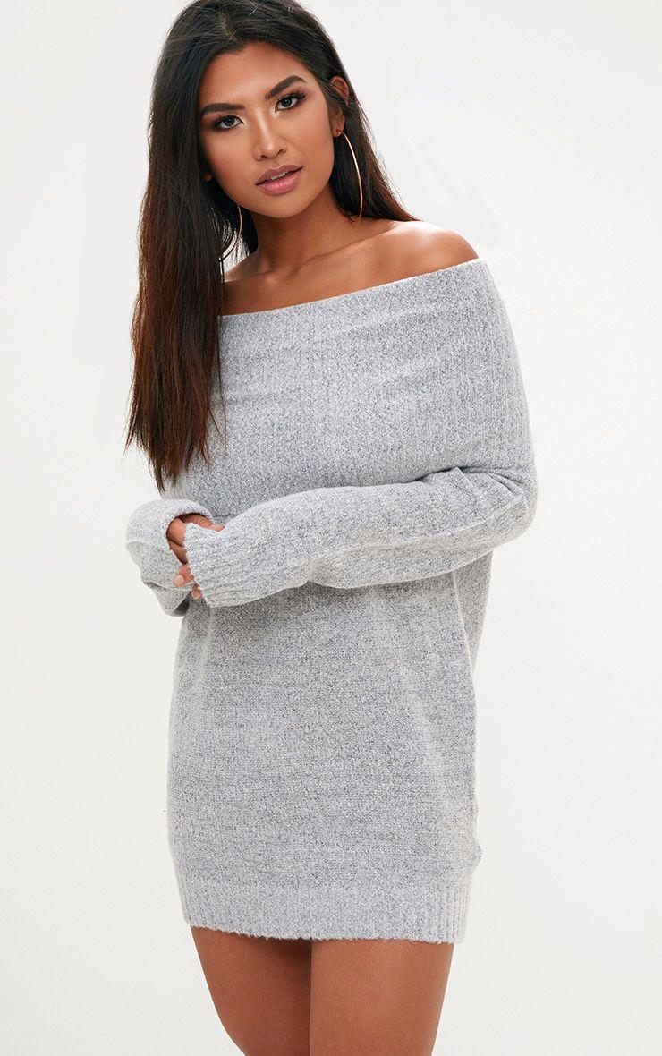 Grey Oversized Bardot Jumper Dress