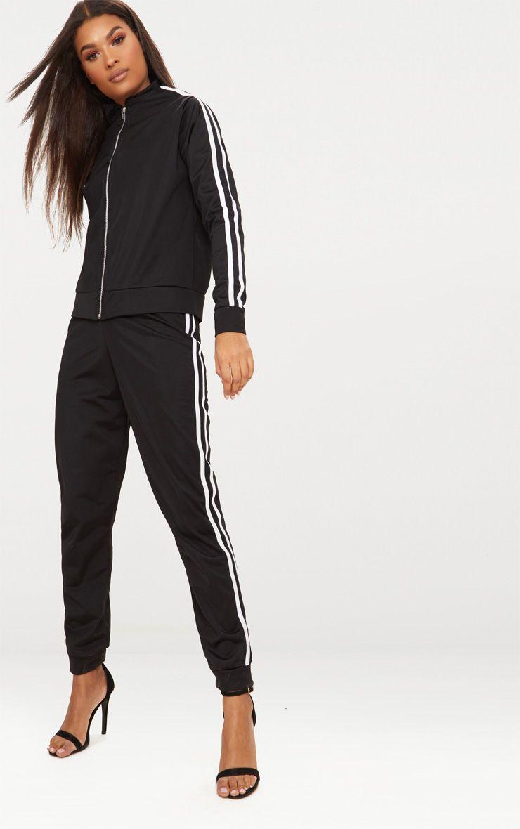 veste de jogging noire bandes sport tops. Black Bedroom Furniture Sets. Home Design Ideas