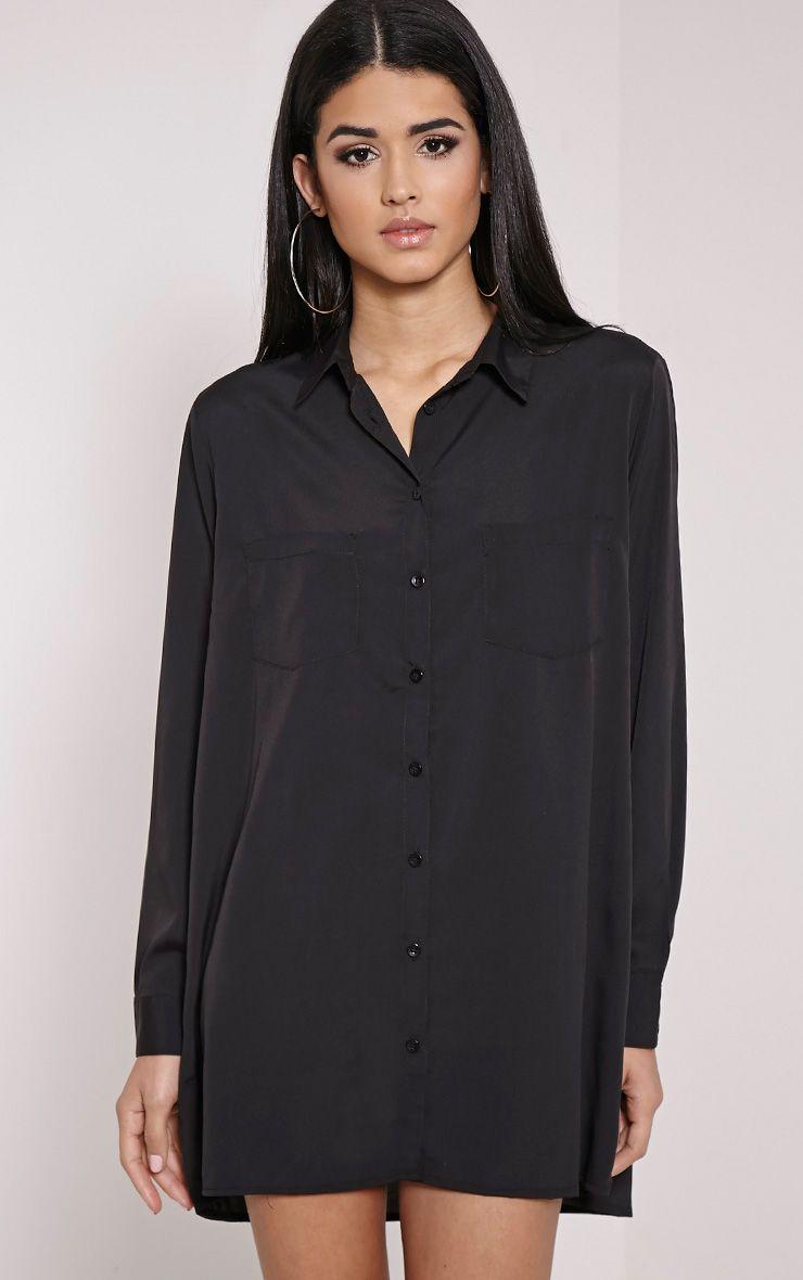 Effy Black Crepe Shirt Dress