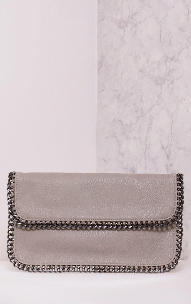 Mildrie Grey Oversized Chain Detail Clutch
