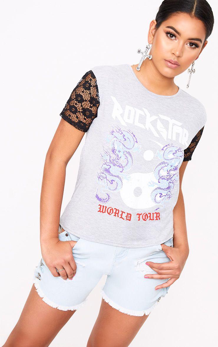 T-shirt gris à manches en dentelle et slogan Rockstar
