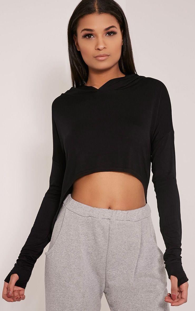 Monah Black Jersey Cropped Hoodie 1