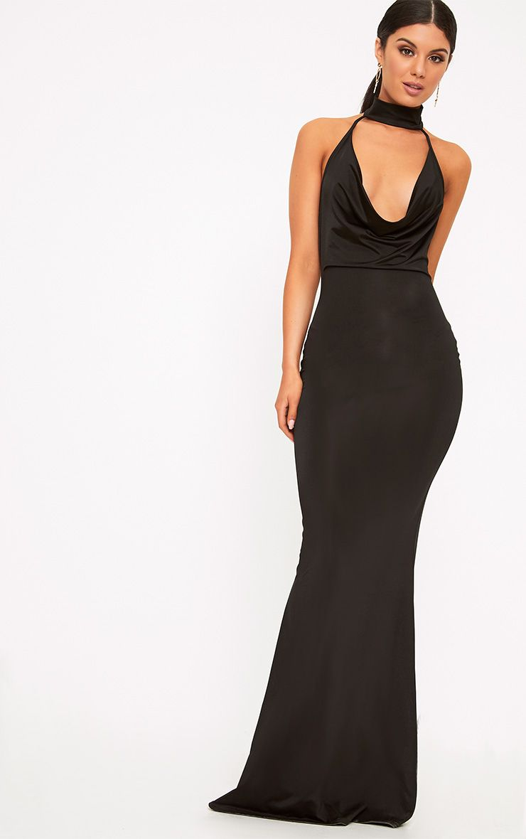 Yasmeen Black Slinky Cowl Neck Maxi Dress