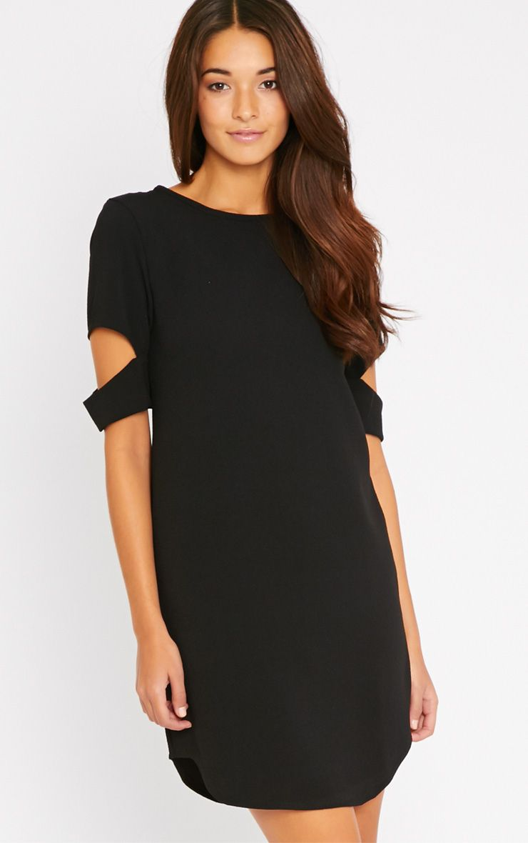Nina Black Split Sleeve Waffle Shift Dress 1