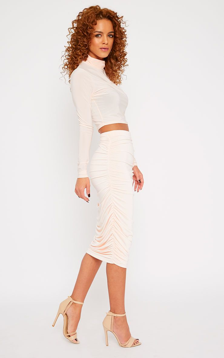 Saylor Nude Slinky Gathered Midi Skirt 1