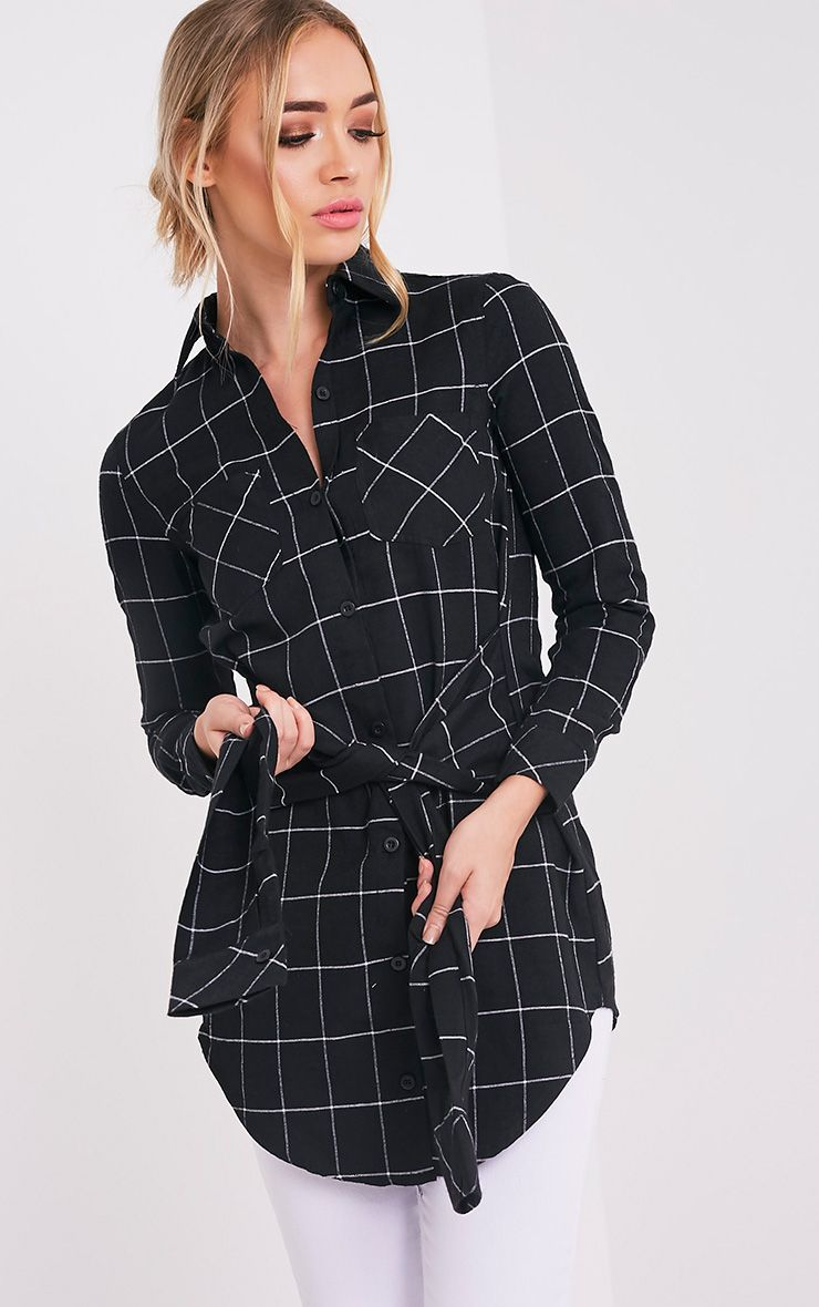 Allia Black Checked Tie Front Longline Shirt 1