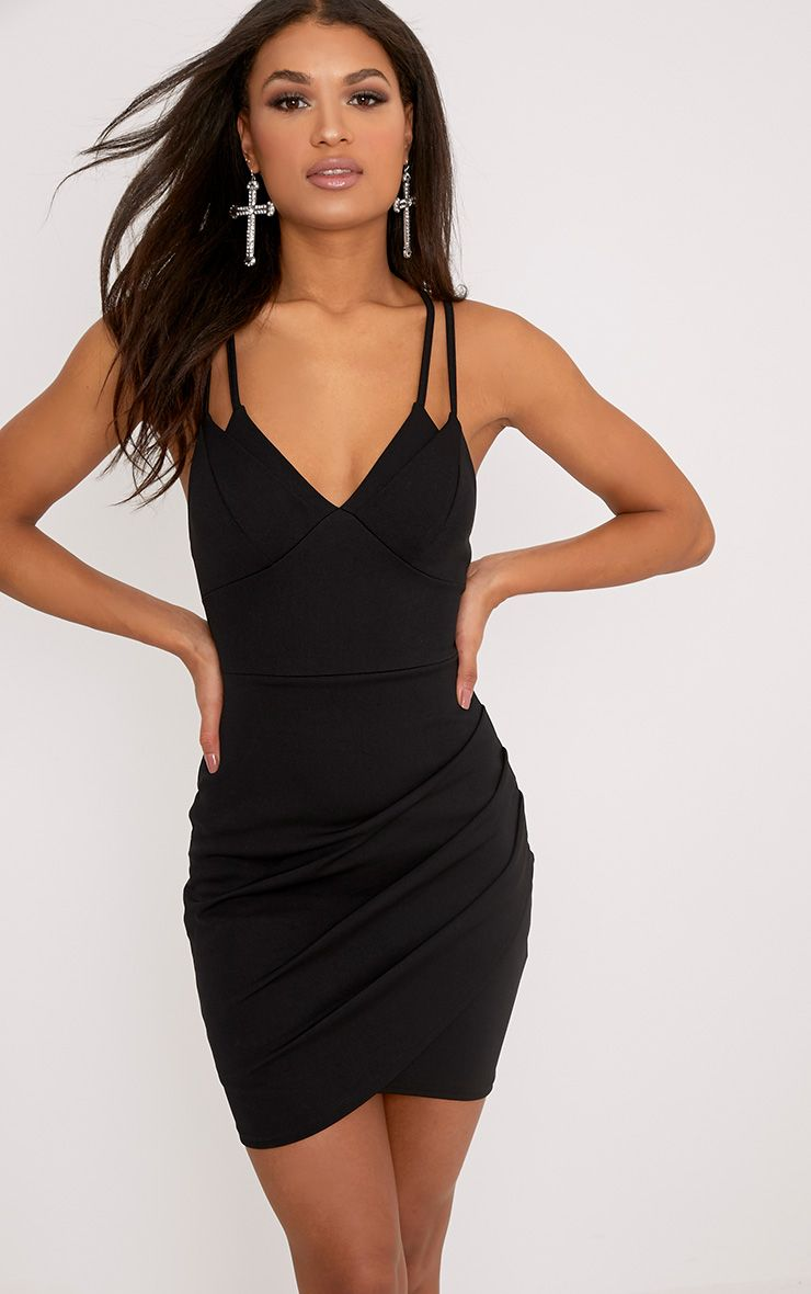 Pascala Black Double Strap Bodycon Dress