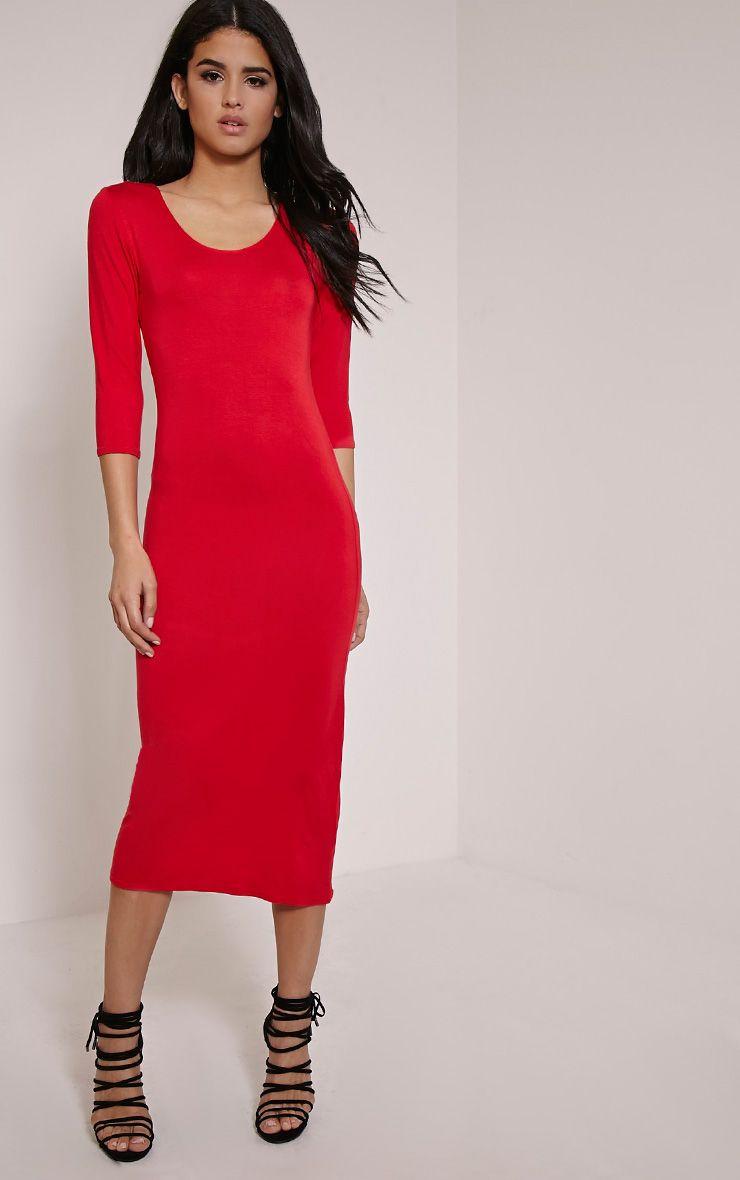 Basic Red Long Sleeve Midi Dress 1