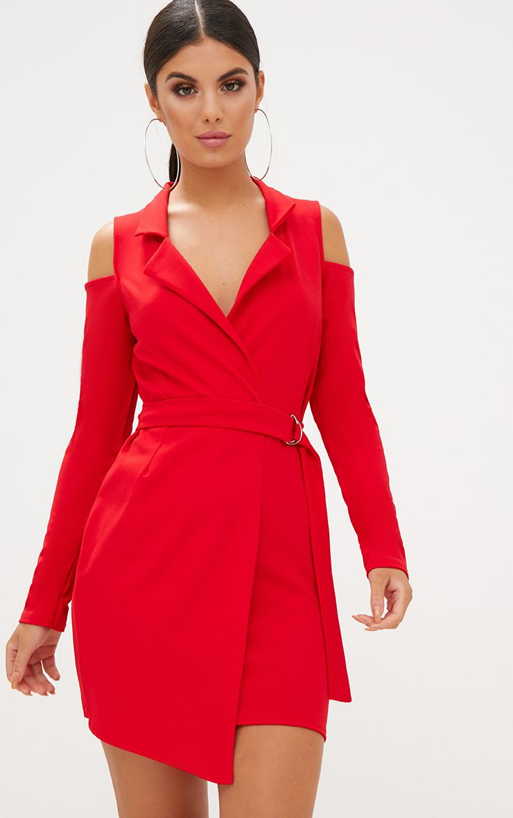 Red Cold Shoulder Blazer Dress