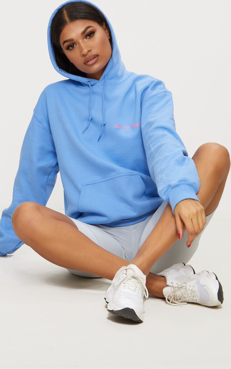 Pastel Blue Summer Nights Slogan Hoodie