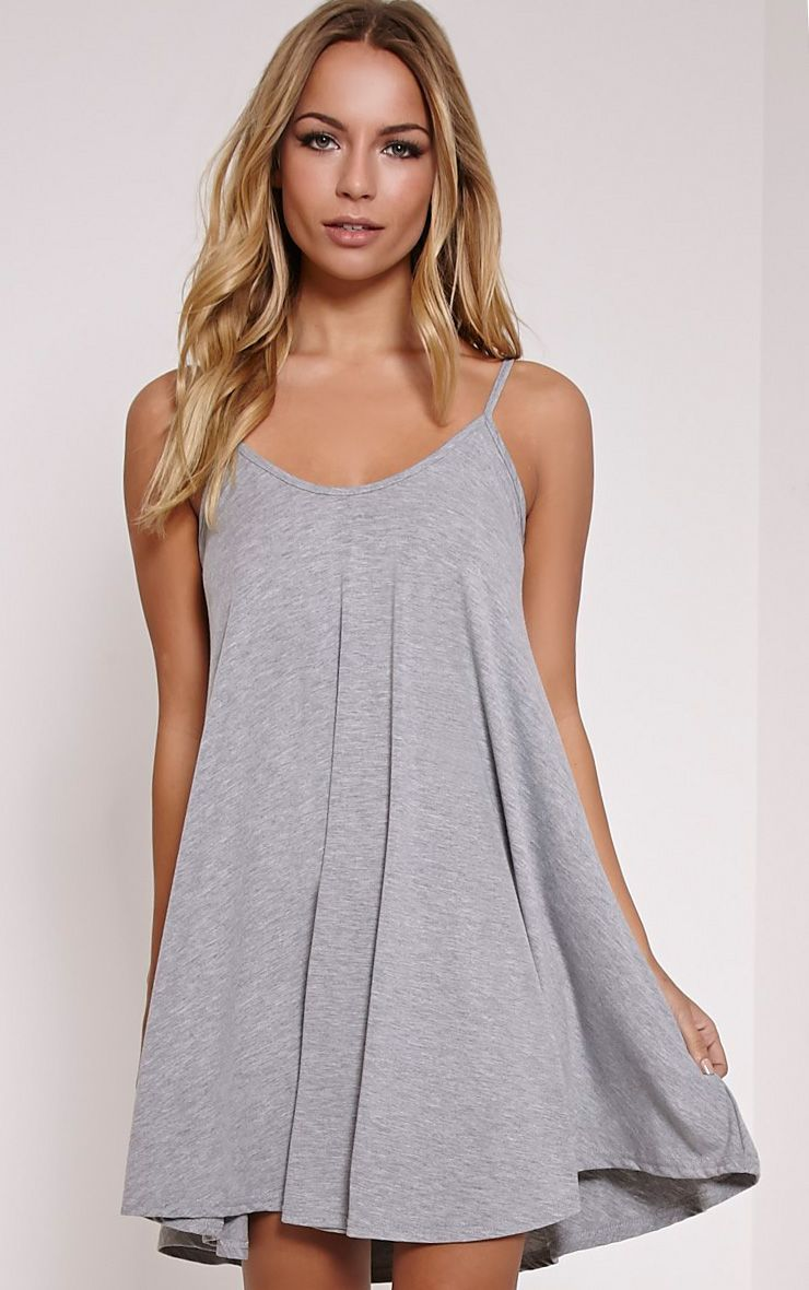 Basic Grey Marl Strappy Jersey Swing Dress
