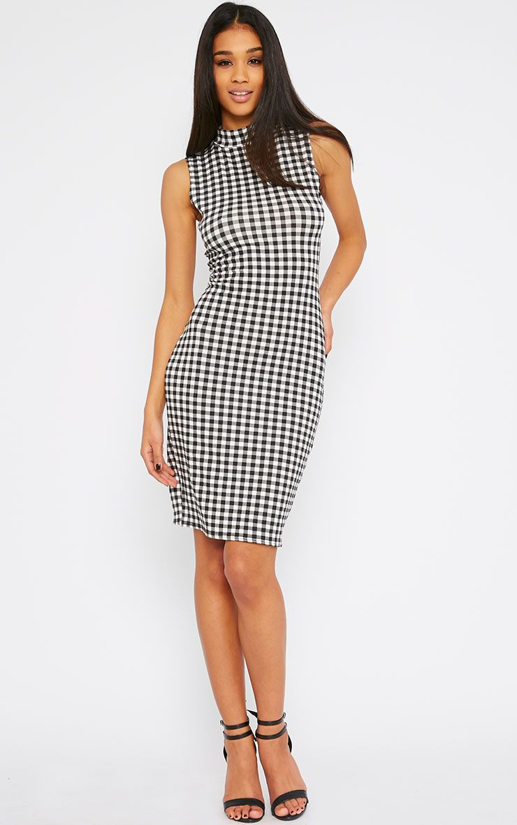 Greta Gingham High Neck Dress 1