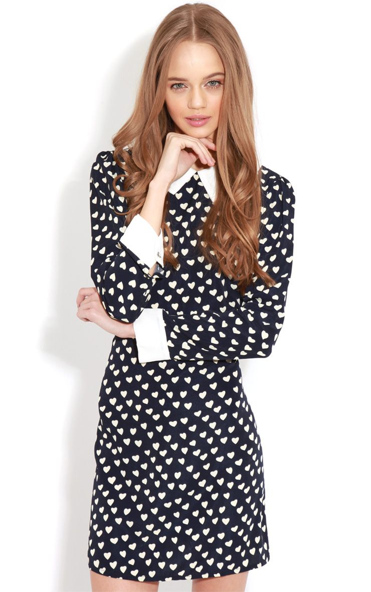 Karlie Blue Love Heart Collar Dress  1
