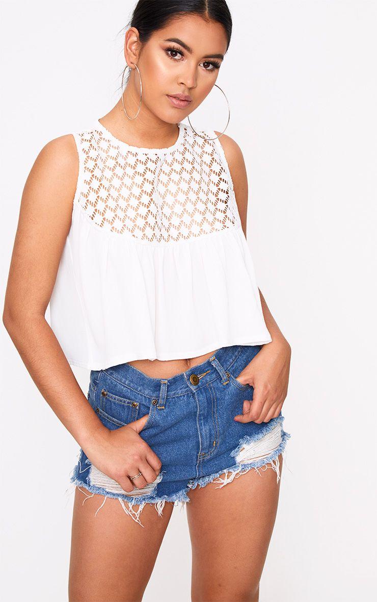 White Broderie Crochet Woven Top