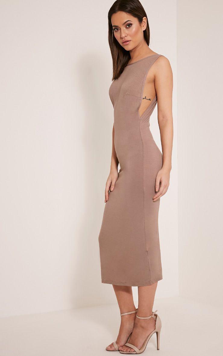 Basic Taupe Drop Armhole Midi Dress 1