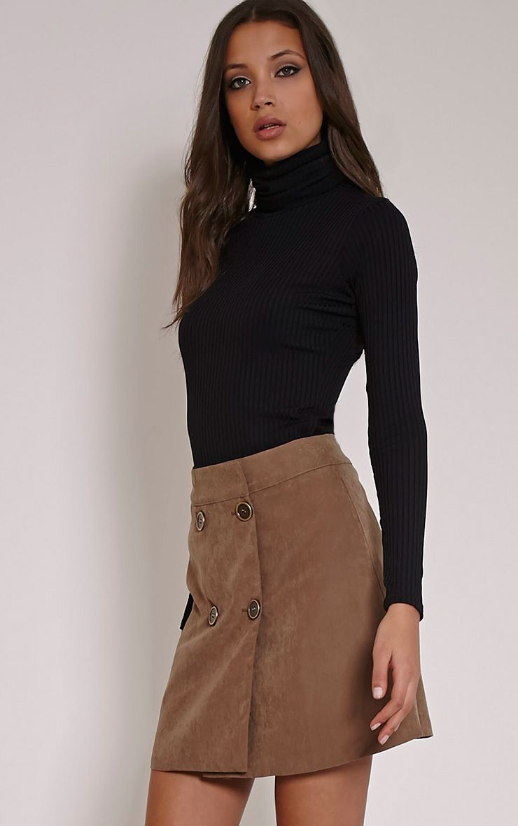 May Tan Double Button Mini Skirt 1