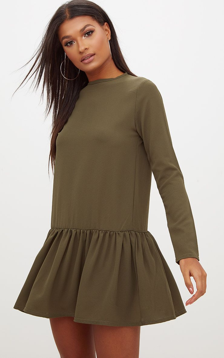 Khaki Long Sleeve Frill Hem Shift Dress