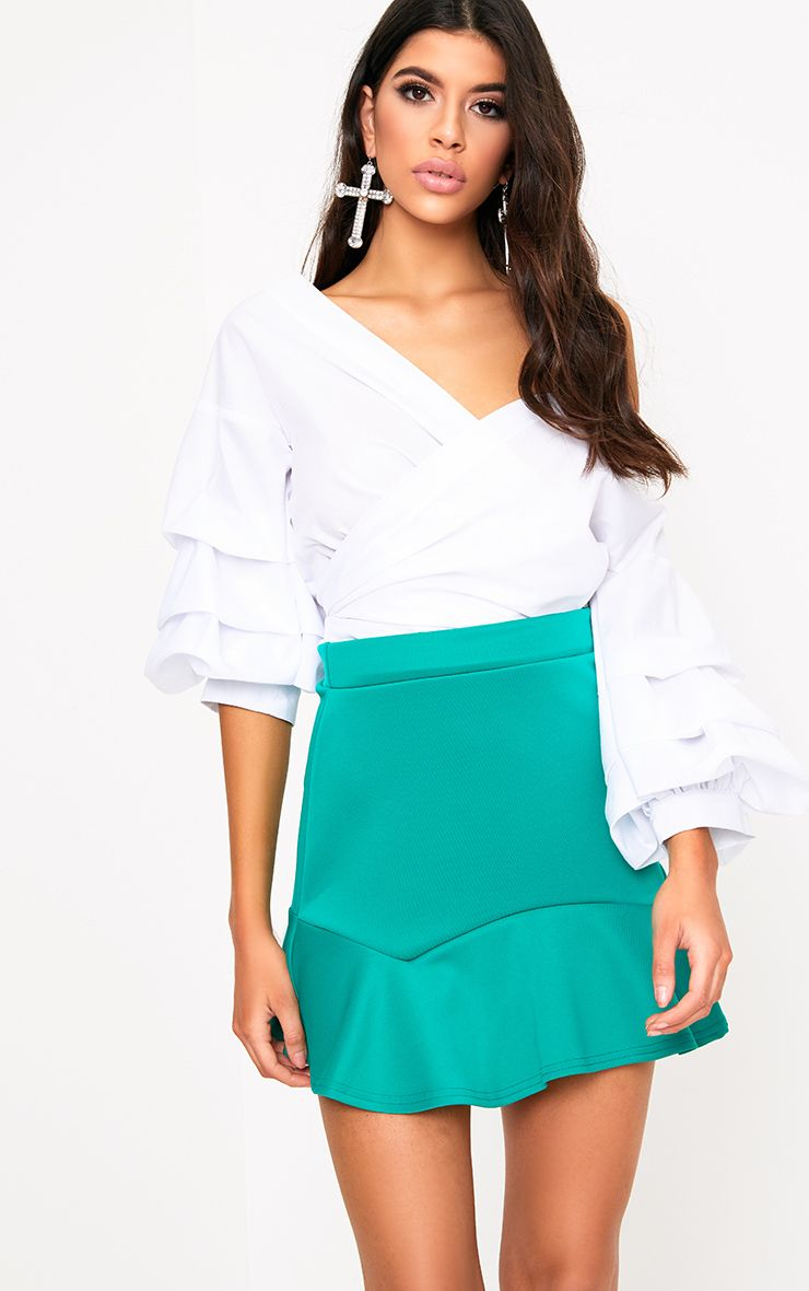 Jade Green Flippy Hem Mini Skirt