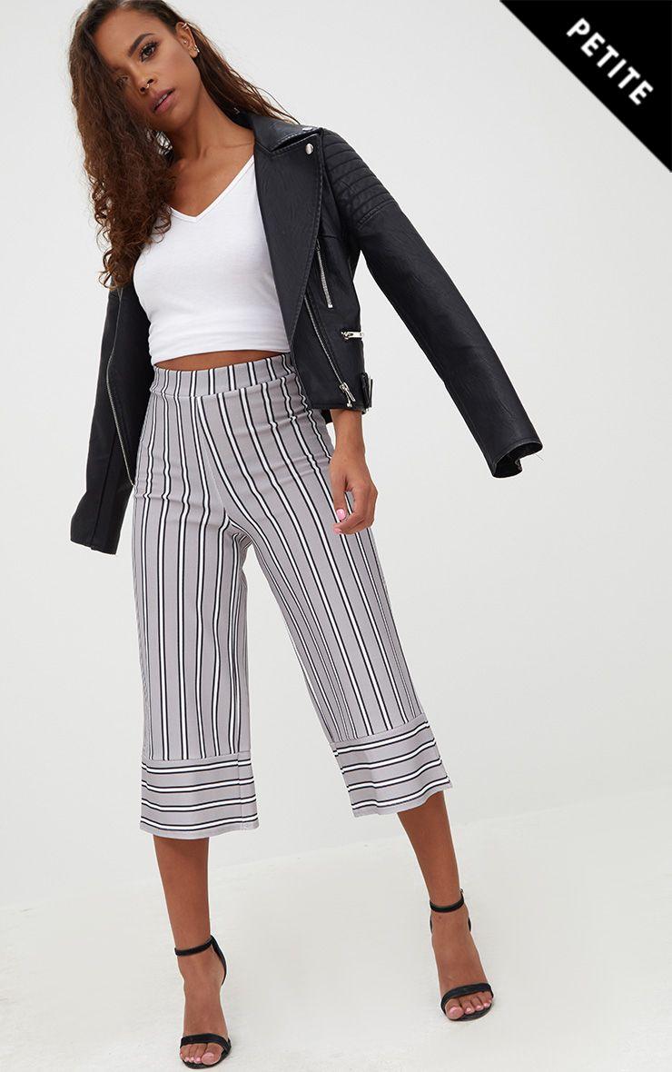 Petite Grey Contrast Stripe Culottes