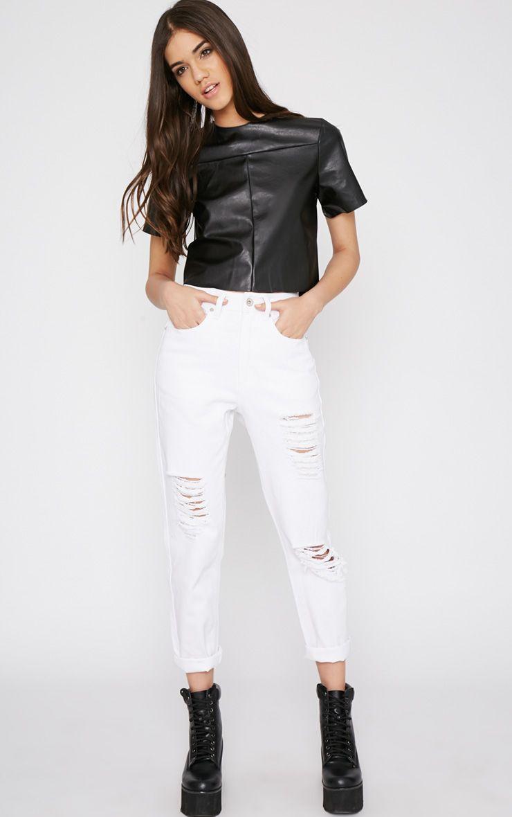 Rhianne White Ripped Boyfriend Jeans 1