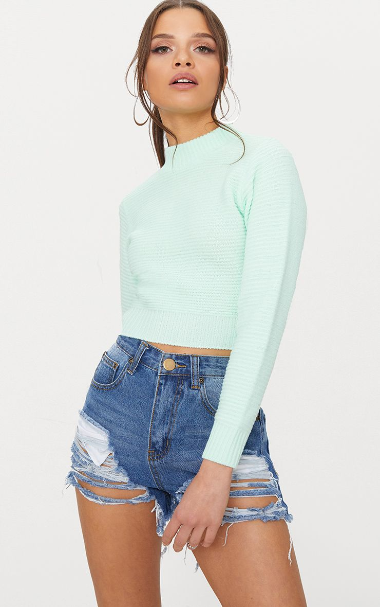 Mint Ribbed Cropped Knitted Jumper